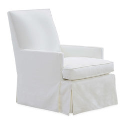 Lee Industries - Cleveland Chair - The Cleveland chair combines clean lines and classic elements for a lasting piece. Finishing its distinguished form, the seat's dressmaker skirt offers tailored appeal. Soy-based foam cushion wrapped in regenerated fibers and sewn into 100% cotton downproof ticking; Choose from a selection of upholstery options; Shown in Davis White; Fabric samples are available on loan, email your request to swatches@zincdoor.com; Made in the USA using sustainable, eco-friendly production practices