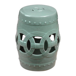 Uttermost - Old Sage Ceramic Garden Stool - This garden stool isn't really meant for your garden, although it's tough enough. You could use it as a side table next to your lounge chair. Or inside, you could store extra towels inside it in the bath. Or in your living room, it would be a fresh, sage accent with an airy cutout feel.