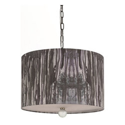 "Horizons - Horizons Trees Pendant Light X-H3-0238 - The Trees pendant was inspired by the forest and matches with our 8275-TL table lamp. The hand-printed shade is beautifully crafted on poly fabric. Measuring 12.5""H x 16""W this pendant requires 3 60W Edison based bulbs. Due to handcrafting no two are alik"