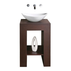 AVANITY PRADO 22 in. Bathroom Vanity - The Prado vanity enriches simplicity and is available in a Dark Walnut finish. This design is specific to use with our stone vessels. A coordinating mirror is available to complete the collection.
