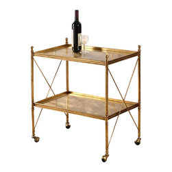 Uttermost - Uttermost - Amaranto Serving Cart In Bright Gold Leaf - 24464 - Amaranto Collection Serving Cart