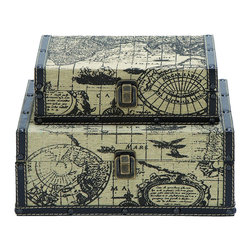 Benzara - Square Shape Traveling Boxes With Ancient World Map - For anyone wanting to travel, their journey should never begin without a large set of square boxes. These are perfectly suited hold all the spoils of your adventure, and rugged enough to travel the world many times over. Printed with an ancient world map from 17th century Europe. When not in use they make for stunning piece of home decor too.