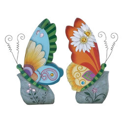 "Benzara - Beautiful Butterfly Decor Beautiful and Colorful - Set of 2 - Add a dash of vibrant color to your home interiors with this beautifully crafted Butterfly Decor 2 Assorted. Sporting a fusion of vibrant colors, these decor items can bring style and liveliness to settings. Beautiful butterflies will reflect your sophisticated taste and style. This butterfly decor flaunts a distinctive design and an eye catching modern style that makes it perfect for blending in with all kinds of contemporary settings. These colorful butterfly decor pieces are crafted with intricate styling to give them an appealing look. Crafted from polystone to ensure durability and sturdiness, these decorative pieces include fine detailing for a more attractive appearance. They can be placed anywhere to add a beautiful appeal to interiors, and are perfect for homes and offices as well. Gift this to someone you love and a flood of compliments will start flowing. They will continue to delight you for years to come..; Distinctive design and an eye catching modern style; Made from polystone to ensure durability and sturdiness; Fusion of vibrant colors; Fine detailing for a more attractive appearance; Weight: 2.09 lbs; Dimensions:4""W x 7""D x 13""H"