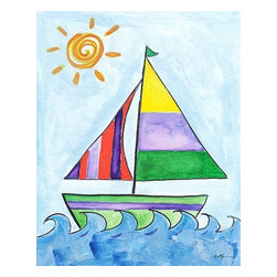 Oh How Cute Kids by Serena Bowman - Sailboat 3, Ready To Hang Canvas Kid's Wall Decor, 11 X 14 - Each kid is unique in his/her own way, so why shouldn't their wall decor be as well! With our extensive selection of canvas wall art for kids, from princesses to spaceships, from cowboys to traveling girls, we'll help you find that perfect piece for your special one.  Or you can fill the entire room with our imaginative art; every canvas is part of a coordinated series, an easy way to provide a complete and unified look for any room.