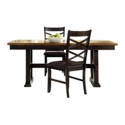Liberty Furniture - Liberty Furniture Bistro II 90x40 Trestle Table - Intersecting X-designs, upholstered chair seats, and butterfly leaves make the Bistro dining collection a well-rounded set made with style, comfort, and functionality in mind. Bring a complete set or mix and match pieces from each finish to bring the dynamic style of this set to your dining space. Made of walnut and rubberwood solids, the pieces from this dining group are made to last. Timeless style and a casual spin on modern design make this group the perfect fit for your home. What's included: Dining Table Top (1), Dining Table Base (1).