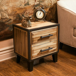 Christopher Knight Home - Christopher Knight Home Luna Acacia Wood Two Drawer Night Stand - Made from acacia wood,this stand can double as both a storage and design element. With neutral colors and an industrial touch this night stand will compliment any bedroom decor it is placed next to.