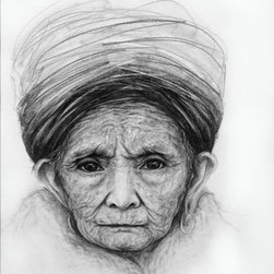 Woman Portrait Drawing Pencil Ethnic - Fascinated by wrinkles and the challenge of capturing them, drawing portraits and images of the wise and elderly is my favorite way to put pencil to paper. This is a reproduction print of an original pencil drawing.