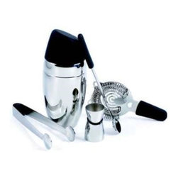 Franmara - Chrome and Black Colored Barman's Deluxe Cocktail Shaker, 5 Piece Set - This gorgeous Chrome and Black Colored Barman's Deluxe Cocktail Shaker, 5 Piece Set has the finest details and highest quality you will find anywhere! Chrome and Black Colored Barman's Deluxe Cocktail Shaker, 5 Piece Set is truly remarkable.