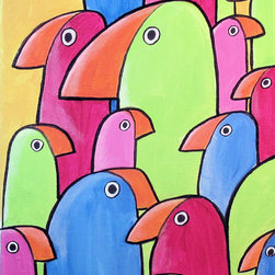 The Flock - A flock of funky, whimsical  birds in bright colors adds a pop of color to any space.