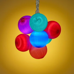 Lamps Plus - Kids Multi-Colored Balls 20-Light LED Party String Lights - Colorful and fresh these string party lights are perfect for entertaining in indoor or outdoor areas or great if you just want to add a splash of color. Featuring red blue turquoise and magenta colors these vibrant lights instantly add a sense of fun. Clear LEDs offer energy efficiency.  LED party string lights.  Set includes 20 lights.  Red blue turquoise and magenta multi-colored balls.  Includes clear LEDs.  Includes clear silver 5m lead wire.  Each light is 15 centimeters apart.