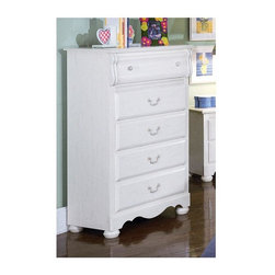 "Standard Furniture - The Diana Children's Five Drawer Chest - Spacious lower drawers have bushed white metal pulls with swing balls for easy opening. This charming chest is finished in simulated white wash wood grain. This White Wood Finish Five Drawer Chest stands 48"" high and provides five capacious drawers accented with complementary brass color swing bail pulls and clear plastic knobs. Five capacious drawers operate smoothly on metal roller bearing glides for long lasting durability. This five drawer dresser give ample clothing storage space for any child�۪s room. * Victorian style overlays grace every piece adding a soft and feminine feel.. Bun feet raise cases off the floor.. Mirror attaches to the dresser with sturdy mounting brackets.Case doors open to reveal spacious storage compartments.. A bachelor chest, sweater chest, and a hutch desk are three functional pieces that facilitate the life of the active child.. The hutch features two CD towers and a corkboard back for pinning notes or pictures.. Profiled toe plates complement overall flowing feel.. Materials: Wood products with simulated wood grain laminates. This group may contain plastic parts.. Construction: Some pieces feature open panel construction with metal roller bearing glides. Other pieces feature folded case side construction with center-mounted runners. Mirrors are back mounted and reinforced.. Hardware: Brushed-white, brass color swing bail pulls and clear plastic knobs.. Simulated, white wash wood grain color (antique white). Care: Surfaces clean easily with a soft cloth. Top drawers are felt lined to protect delicate items.. 32 L x 16 W x 48 H in."