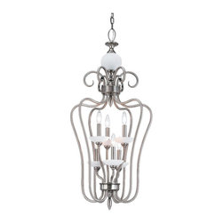 Seagull - Seagull Montclaire Cage Pendant Light in Antique Brushed Nickel - Shown in picture: CLOSEOUT SPECIAL - 51106-965 Six-Light Montclaire Hall/Foyer in Antique Brushed Nickel finish
