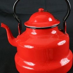 EuroLux Home - Consigned Vintage Romanian Red Enamelware Water Kettle - Product Details
