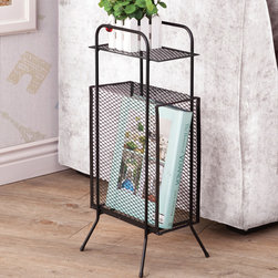 Coaster - Storage Table, Black - A simple and effective storage solution for small spaces and nooks. This metal storage table features a tall rectangular compartment, a top shelf and sturdy metal legs with rubber grip feet.