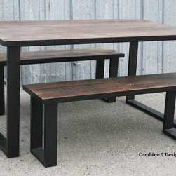 Reclaimed wood bench made of Steel and Vintage Reclaimed Wood. Urban. Modern. -