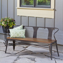 None - Jardin Outdoor Steel Frame Bench - A wood slat seat and metal frame give this sturdy bench a stylish outdoor feel.  The bench features a solid Eucalyptus seat and a scratch- and mar-resistant powder coat finish appropriate for outdoor use.