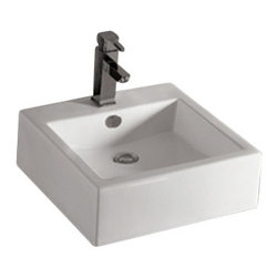 Whitehaus Collection - Whitehaus WHKN4051 Ceramic Square Above Mount Isabella Bathroom Sink Basin - Add style and class to your bathroom! This elegantly crafted modern bathroom sink spices up any setting making your bathroom a dream come true!