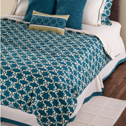 Rizzy Rugs - Azuela Peacock Blue Queen Duvet with Poly Insert Bed Set - - Construction: Quilting, Embroidered, Welting and Piecing details  -  A palette of peacock blue, lime and white have be artfully arranged and accented by exquisite quilting and embroidery to create a fresh new look for the bedroom. The geometric lattice pattern extends though the design in both pattern and texture.  - Care and Cleaning: Machine wash separately, hand wash accent pillow Rizzy Rugs - BT0880 Q