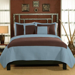 1st Apartment - Barclay Quilt Set - QS6386ACKG-2300 - Shop for Home Furnishings and Accents from Hayneedle.com! Modern colors and fine details define the Barclay Quilt Set. This unique and eye-catching bed set features aqua and chocolate in big color block designs across the quilt and matching decorative pillow shams.Comforter Dimensions:Twin: 86L x 68W in.Queen: 86L x 86W in.King: 90L x 100W in.About Pem AmericaMakers of high-quality handcrafted textiles Pem America Outlet specializes in bedding that enhances your comfort and emphasizes the importance of a good night's rest. Quilts comforters pillows and other items for the bedroom are made with care and craftsmanship by Pem America. Their products cover a wide range of materials styles colors and designs all made with long-lasting quality construction and soft long-wearing materials. Details like fine stitching embroidery and crochet decorations and reinforced seaming make Pem America bedding comfortable and just right for you and your family.