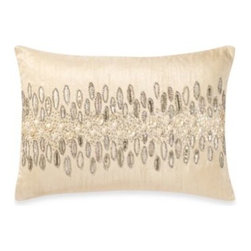 Spencer N. Enterprises - Oz Natural Oblong Toss Pillow - This hand-beaded pillow will add some glitz and elegance to your home's décor.