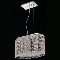 Elegant Lighting - Elegant Lighting 1292D18C-RO Moda 3-Light Crystal Pendant, Finished in Chrome wi - Elegant Lighting 1292D18C-RO Moda 3-Light Crystal Pendant, Finished in Chrome with Rosaline Pink CrystalsElegant Lighting 1292D18C-RO Features: