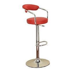Benzara - Designer Contempo Red Bar Stool with Gas Lift Full Swivel - Designer Contempo Red Bar Stool with Gas Lift Full Swivel.