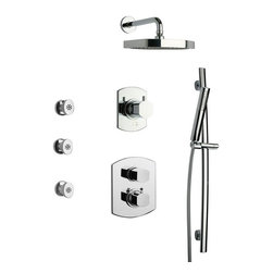 La Toscana - La Toscana Novello SHOWER7NOCP Shower System 7 - 461584 - Shop for Showers from Hayneedle.com! You'll never want for another shower set once you have the La Toscana Novello SHOWER7NOCP Shower System 7 outfitted in your new contemporary-style shower decor. Plenty of water-source options are available including a wall-mounted shower-head a hand-held shower-head and body jets. The three wall-mounted body jet provide a side-shower with adjustable angles for the spray. The hand-held shower-head is connected to your plumbing by a 60-inch flexible hose and features a mounting bracket that lets it perch on the vertical slide bar for angle and height adjustment. A single-function spray-face and a cylindrical design make the hand-held unit easy to grip. The wall-mounted shower head extends out a full foot and is supported by a sturdy flange; its flat round spray head provides a wide rain-shower spray that cascades your entire body. Each piece is crafted from solid brass and is protected from corrosion rust scratches and tarnish by a beautiful polished chrome finish. A three-way diverter makes it simple to direct the water-flow between spouts. A ceramic disc valve prevents leaks and drips from occurring while a thermostatic shower valve lets you preset a comfortable temperature for the water output. A backing-plate is included home to two knob-handles one for control over the water's volume and on/off and a second knob for the fine-tuning of the water-temperature. The unit installs easily into nearly any standard US plumbing fixtures. Drain assembly is not included.Product Specification:Country of Origin: ItalyADA Compliant: NoInstallation Type: Wall MountNumber of Handles: 3Handle Style: KnobFlow Rate: 2.5GPMValve Included: YesOverall Height: 8.0 inchesAbout La Toscana by PainiLa Toscana creates faucets bath vanities and accessories in a wide range of styles. From elegant and traditional to sleek and modern they have a kitchen or lavatory set-up perfect for you. 