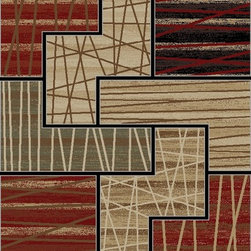 Ottomanson - Multi-Color Contemporary Abstract Design Area Rug - Is your contemporary space a little shy of creature comforts? Could it use a pop of color at a very affordable price? This bold abstract area rug is durable and stain-resistant so if you've got a high traffic area that needs a little pick-me-up, you just found it.