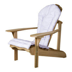 All Things Cedar - Cedar Adirondack Chair  + White Cushion - Form fitting seat, wide arm paddles and contoured back offers the ultimate in design and comfort. Item is made to order.