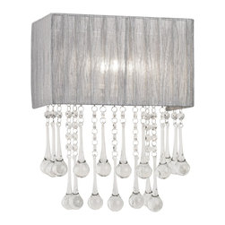 """Possini Euro Design - Possini Euro Silver and Crystal 14"""" High Wall Sconce - A stunning rectangular half-shade is draped in a sheer silver fabric as clear crystal drops dangle below and reflect the light. Give your bathroom hallway or bedroom a quick and complete style makeover with this fantastic fixture. From the Possini Euro lighting collection. Takes one 40 watt bulb (not included). 11"""" wide. 14"""" high. Extends 5 1/2"""" from the wall.  Silver fabric rectangular shade.   Crystal and glass drops.   Design by Possini Euro.  Takes one 40 watt bulb (not included).   11"""" wide.   14"""" high.   Extends 5 1/2"""" from the wall."""