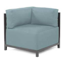 Howard Elliott Sterling Breeze Axis Corner Chair Slipcover - Ready to wear! Wouldn't it be fun to change your Axis Sectional on a whim? Now you can! with a Sterling Axis Cover, tailored construction and Velcro fasteners make it so that you would never know these pieces are slipcovered. This provides for easy cleaning and quick updating. Get a whole new look with the rich linen-like texture of the Sterling Axis Slipcover and its selection of bold, vibrant colors!!