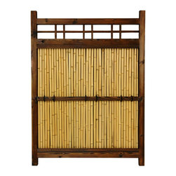 Oriental Furniture - 4 ft. x 3 ft. Japanese Bamboo Kumo Fence - Medium-sized panel of our four-foot-tall Japanese bamboo garden fence. Sturdy wood frame is finished in a dark walnut stain with visible natural wood grain. Center panel consists of bleached and lacquered bamboo poles with cross-bar backing for durability. A rustic and traditional Oriental accent for your garden, porch or yard.