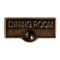 Renovators Supply - Switch Plate Tags Ant Brass DINING ROOM Switch Tag 1 11/16'' W - Forget which switch is for what? Try our ID switchplate tags and identify your switches. Our switchplate ID tags are made from SOLID CAST BRASS and come with a TARNISH-RESISTANT ANTIQUE BRASS finish. EASY installation and fits standard switchplates. Coordinating screw included. Measures 13/16 in. H x 1 11/16 in. W.