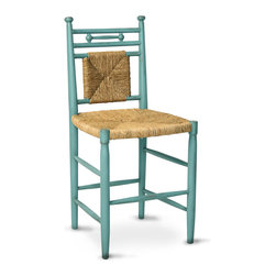 """Abigail Barstool 24"""" - Turquoise/Woven Rush - A bright turquoise frame's boldness accents your space with color while contrasting with the natural, tactile appeal of a hand-woven rush seat and back - but both finishes contribute to a spacious, coastal feel in your home. This hardwood seating piece, the Abigail Barstool, introduces a fresh look into your home with traditional lines and motifs."""