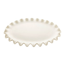 Ruffle Platter - Large - White - A fresh, handmade feel with consistent shaping makes the Large Ruffle Platter a particularly sleek artisan detail, adding a charming traditional character to the table or lending distinction to a surface for display. The eponymous ruffle edge of this twelve-inch oval platter is wonderfully three-dimensional with an appealing visual reference to the details of long ago.