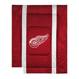 Sports Coverage - Detroit Red Wings NHL Bedding - Sidelines Comforter - Full - Show your team spirit with this great looking officially licensed Detroit Red Wings comforter which comes in a new design with sidelines. This Detroit Red Wings comforter is made from 100% Polyester Jersey Mesh - just like what the players wear. The fill is 100% Polyester batting for warmth and comfort. Featuring authentic Detroit Red Wings team colors, each comforter has the authentic Detroit Red Wings logo screen printed in the center. Soft but durable. Machine washable in cold water. Tumble dry in low heat. 100% Polyester Microsuede top and 100% Polyester Jersey  bottom, filled with 100% Polyester Batting. Each comforter has the team logo centered on solid background in team colors. 5.5 oz. Bonded polyester batts. Looks and feels like a real jersey!
