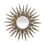 "Lamps Plus - Accent Centauri Starburst 33"" Wide Bronze Wall Mirror - Add a shot of glamour and style to any wall with this bronze starburst wall mirror from Elk Lighting. Overlapping panels create great visual texture in this eye-catching piece. Beaded details give it a bit of extra style. Beveled edge on central mirror draws the eye in. A great piece to change a room! Bronze finish. Metal construction. Beveled glass edge. Overlapping starburst panels with beaded detail. 33"" wide. Mirror glass only is 8"" wide.  Bronze finish.  Metal construction.  Beveled glass edge.  Overlapping starburst panels with beaded detail.  33"" wide.  Mirror glass only is 8"" wide."