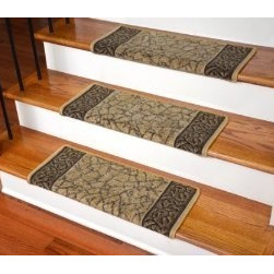 """Dean Flooring Company - Dean Bullnose Wraparound Non-Skid Carpet Stair Treads - Garden Path Gold & Brown - Dean Modern DIY Bullnose Wraparound Non-Skid Carpet Stair Treads - Garden Path Gold and Brown : Non Skid Modern Bullnose Wraparound Stair Treads By Dean Flooring Company. Protect stairs and steps in style and comfort with good looking, long wearing stair treads. Rectangular shaped, finished edge style in durable long-lasting nylon quality construction. Perfect for heavily trafficked areas. Helps prevent slips for you and your pets on your hardwood stairs. Protects your hardwood from wear and tear. Non-skid foam rubber back. Cuts down on track-in dirt. Extends the life of your hardwood stairs. Easy to keep clean-spot clean and vacuum. Edges are finished with color matching yarn. Easy do-it-yourself installation with included advanced adhesive roll. Will not damage your flooring. Easy to remove. Will not leave sticky residue. Each tread is approximately 26"""" x 12"""" (Covers 10""""). Set includes 13 stair treads. Add a touch of warmth and style to your home today with stair treads from Dean Flooring Company!"""