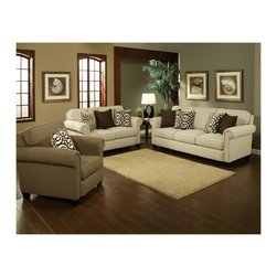 "Benchley - 2-Piece Magnolia Sand Fabric Upholstered Sofa and Love Seat Set - 2-Piece Magnolia sand fabric upholstered sofa and love seat set with rounded padded arms and piping trim accents. Sofa measures 91"" x 39"" x 40"" h. Love seat measures 66"" x 39"" x 40"" h. Chair and ottoman also available separately. This set comes as shown or available in cafe color also."