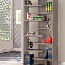 Coaster - Bookshelf, Distressed Grey - This bookshelf can be used to dress up any wall with a slatted shelf design, which provides storage and plenty of display space. Finished in distressed grey.