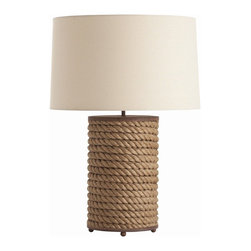 Arteriors - Vern Rusted Iron/Jute Rope Wrapped Lamp - A trim coil of natural jute makes this table lamp a unique accent for your favorite casual setting. Tiny iron ball feet and a wide beige linen shade complete the silhouette.