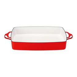 Dansk - Dansk Kobenstyle Large Baker - Your lasagna will look picture perfect bubbling away inside this handsome large baking dish. And after you eat it don't panic, a quick swipe of the sponge lifts the blackened cheese right off the enameled steel edges.