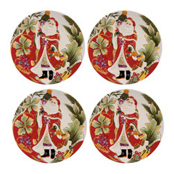 None - Fitz and Floyd Regal Holiday Santa Accent Plate (Set of 4) - Embrace an elegant and luxurious look for the holiday season with Fitz and Floyd's Regal Holiday collection. Garnished with accents of gold,aubergine and majestic crimson,Regal Holiday will add a noble touch to the holidays for years to come.
