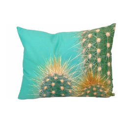 Cactus 18X14 Decorative Pillow (Indoor/Outdoor) - 100% polyester cover and fill.  Suitable for use indoors or out.  Made in USA.  Spot Clean only