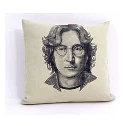reStyled by Valerie - John Lennon Pillow, Linen Pillow - The inspiring image of musician John Lennon is just the bit of thoughtfulness and whimsy your decor needs. This decorative throw pillow features a lustrous drawing of cultural icon John Lennon, illustrated by Nick Williams and individually screen printed onto each natural beige linen blend fabric pillow.