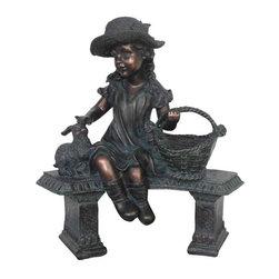 "Garden Statuary, Outdoor Statuary - 20"" Girl on Chair with Rabbit"