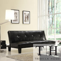 Tribecca Home - TRIBECCA HOME Bento Brown Faux Leather Modern Mini Futon Sofa Bed - Accommodate guests in style with this sturdy faux-leather futon sofa, which adds both extra seating and extra sleeping space to your home. The dark brown finish and blocky shape give it a contemporary look, so it looks great even when it's not in use.