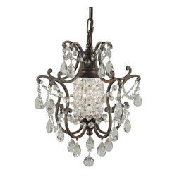 Murray Feiss - Murray Feiss Maison de Ville Traditional Mini Chandelier X-BRB1/9781F - European inspired elements, elegant scrollwork and cascades of stylish crystals draw the eye in on this Murray Feiss mini chandelier, or chandelette. From the Maison de Ville Collection, it also features a rich toned British Bronze finish that highlights the fine details and pulls the look together.