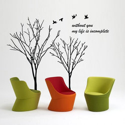 ColorfulHall Co., LTD - Tree Wall Decals Without You My Life Is Incomplete Quotes with Birds - Tree Wall Decals Without You My Life Is Incomplete Quotes with Birds