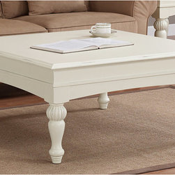 None - Vanilla Wasatch Square Coffee Table - Add a stylish touch to your home decor with this square coffee table. A vanilla white finish and sturdy design complete this detailed table.